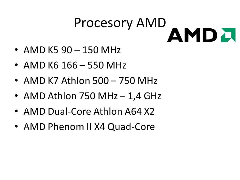 Procesory AMD AMD K5 90 – 150 MHz AMD K6 166 – 550 MHz AMD K7 Athlon 500 – 750 MHz AMD Athlon 750 MHz – 1,4 GHz AMD Dual-Core Athlon A64 X2 AMD Phenom