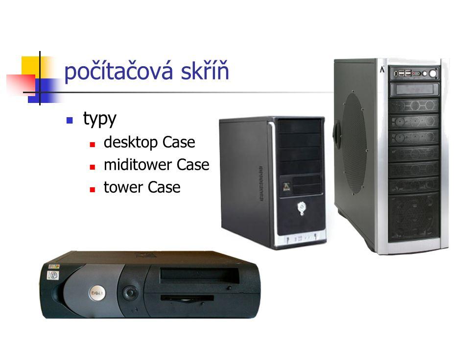 počítačová skříň typy desktop Case miditower Case tower Case