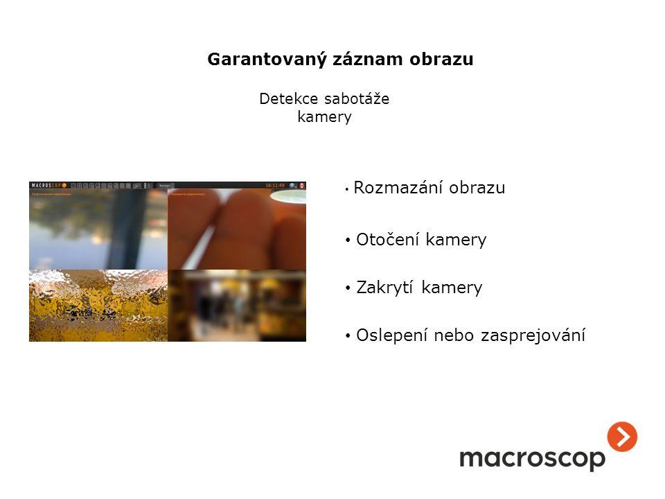 Rozmazání obrazu Otočení kamery Zakrytí kamery Oslepení nebo zasprejování Detekce sabotáže kamery Garantovaný záznam obrazu