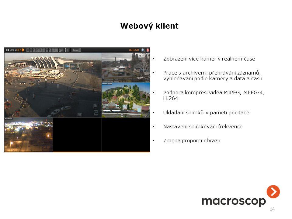 Zobrazení více kamer v reálném čase Práce s archivem: přehrávání záznamů, vyhledávání podle kamery a data a času Podpora kompresí videa MJPEG, MPEG-4,