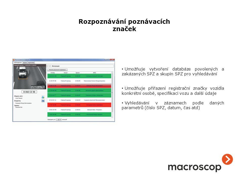 Umožňuje vytvoření databáze povolených a zakázaných SPZ a skupin SPZ pro vyhledávání Umožňuje přiřazení registrační značky vozidla konkrétní osobě, sp