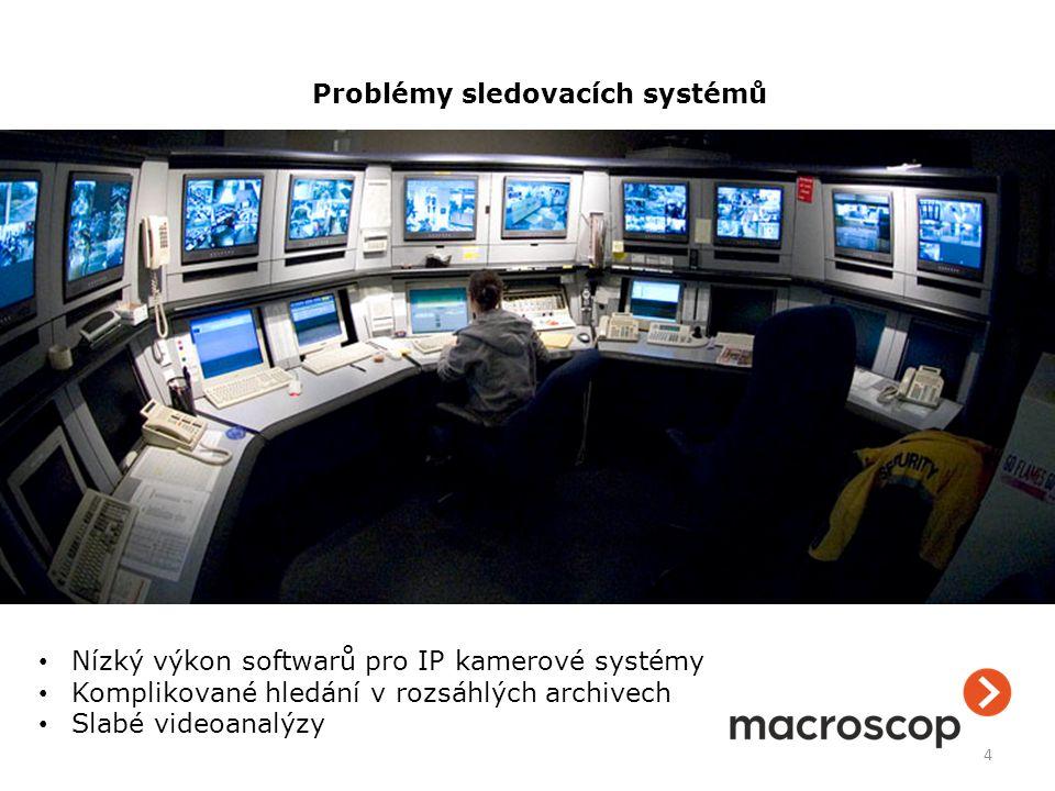 4 Problémy sledovacích systémů Nízký výkon softwarů pro IP kamerové systémy Komplikované hledání v rozsáhlých archivech Slabé videoanalýzy