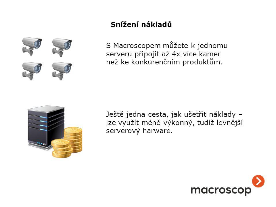 S Macroscopem můžete k jednomu serveru připojit až 4x více kamer než ke konkurenčním produktům. Ještě jedna cesta, jak ušetřit náklady – lze využít mé