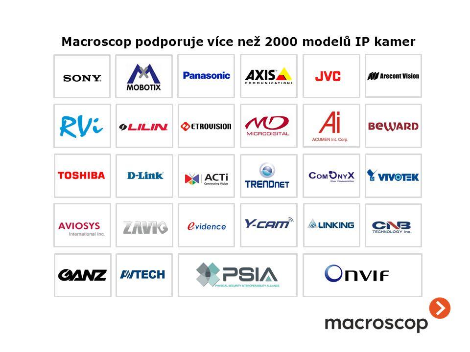 ++ + +++++ ++ ++ + + + ++++ ++ ++ + + + + Macroscop podporuje více než 2000 modelů IP kamer