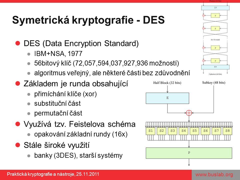 www.buslab.org Praktická kryptografie a nástroje, 25.11.2011 Symetrická kryptografie - DES DES (Data Encryption Standard) ●IBM+NSA, 1977 ●56bitový klíč (72,057,594,037,927,936 možností) ●algoritmus veřejný, ale některé části bez zdůvodnění Základem je runda obsahující ●přimíchání klíče (xor) ●substituční část ●permutační část Využívá tzv.