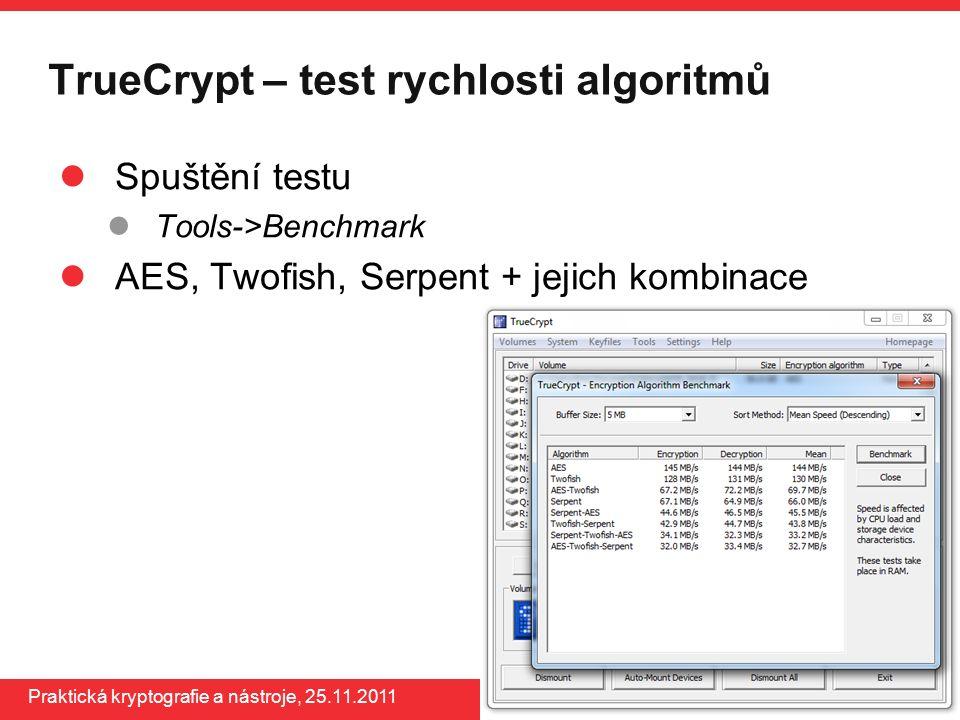 www.buslab.org Praktická kryptografie a nástroje, 25.11.2011 TrueCrypt – test rychlosti algoritmů Spuštění testu Tools->Benchmark AES, Twofish, Serpen