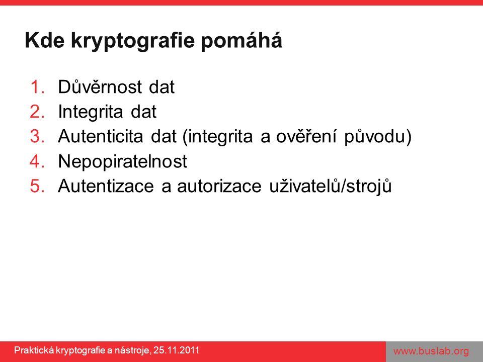 www.buslab.org Praktická kryptografie a nástroje, 25.11.2011 Kde kryptografie pomáhá 1.Důvěrnost dat 2.Integrita dat 3.Autenticita dat (integrita a ověření původu) 4.Nepopiratelnost 5.Autentizace a autorizace uživatelů/strojů