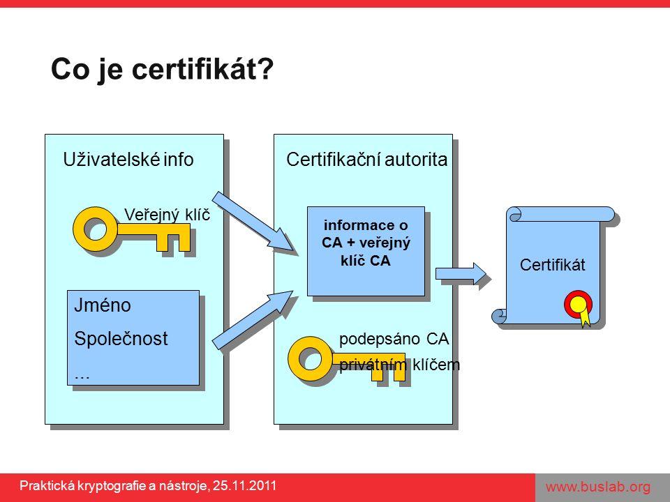 www.buslab.org Praktická kryptografie a nástroje, 25.11.2011 Certifikační autoritaUživatelské info Co je certifikát? Jméno Společnost... Jméno Společn