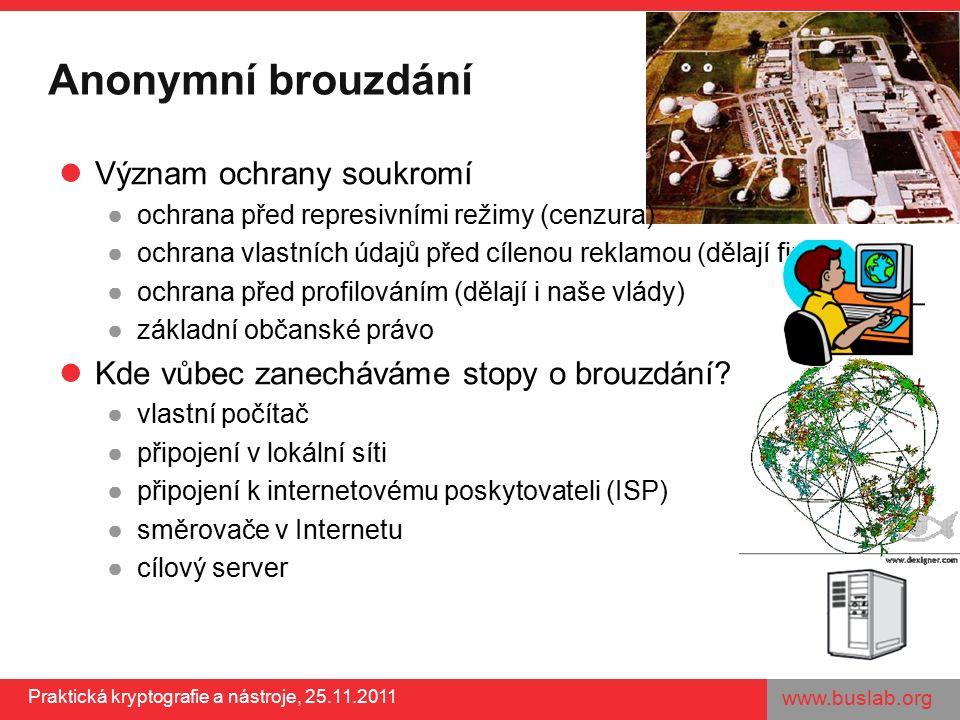 www.buslab.org Praktická kryptografie a nástroje, 25.11.2011 Anonymní brouzdání Význam ochrany soukromí ●ochrana před represivními režimy (cenzura) ●o