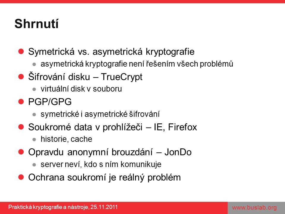 www.buslab.org Praktická kryptografie a nástroje, 25.11.2011 Shrnutí Symetrická vs. asymetrická kryptografie ●asymetrická kryptografie není řešením vš
