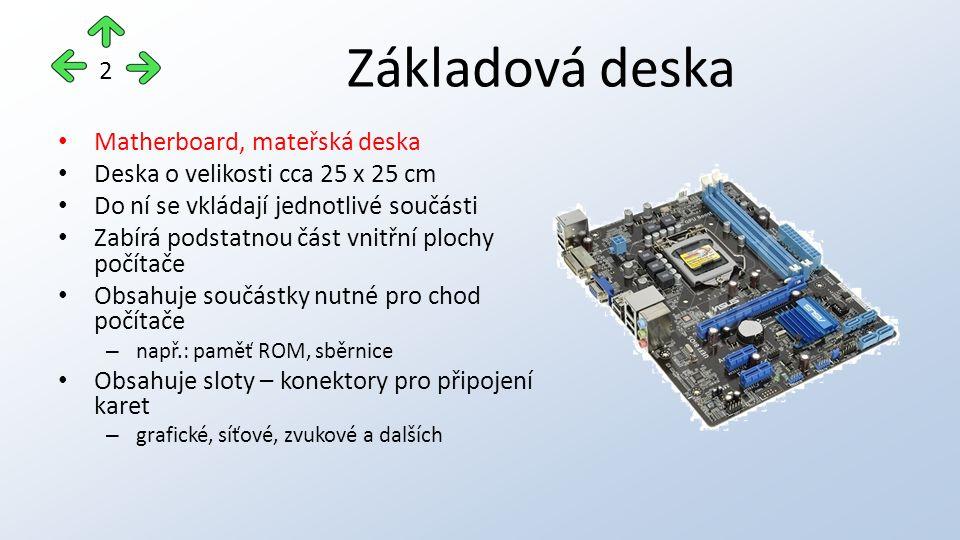 Základová deska Matherboard, mateřská deska Deska o velikosti cca 25 x 25 cm Do ní se vkládají jednotlivé součásti Zabírá podstatnou část vnitřní plochy počítače Obsahuje součástky nutné pro chod počítače – např.: paměť ROM, sběrnice Obsahuje sloty – konektory pro připojení karet – grafické, síťové, zvukové a dalších 2