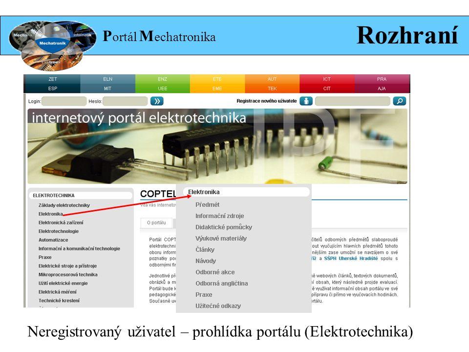 P ortál M echatronika Rozhraní Neregistrovaný uživatel – prohlídka portálu (Elektrotechnika)