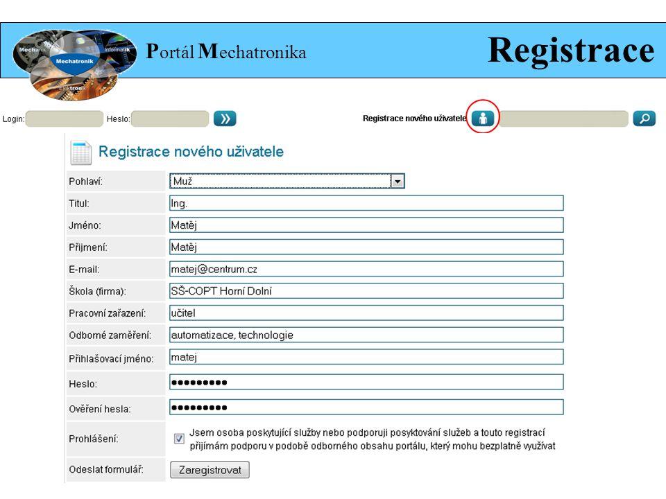 P ortál M echatronika Registrace