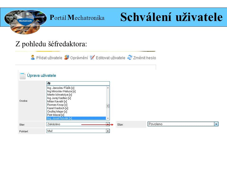 P ortál M echatronika Schválení uživatele Z pohledu šéfredaktora:
