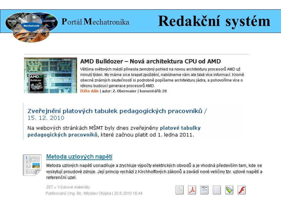 P ortál M echatronika Redakční systém