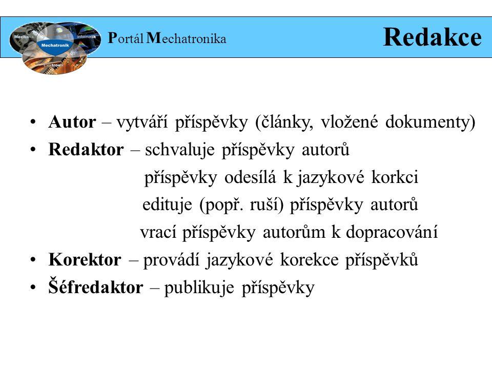 P ortál M echatronika Redakce Autor – vytváří příspěvky (články, vložené dokumenty) Redaktor – schvaluje příspěvky autorů příspěvky odesílá k jazykové korkci edituje (popř.