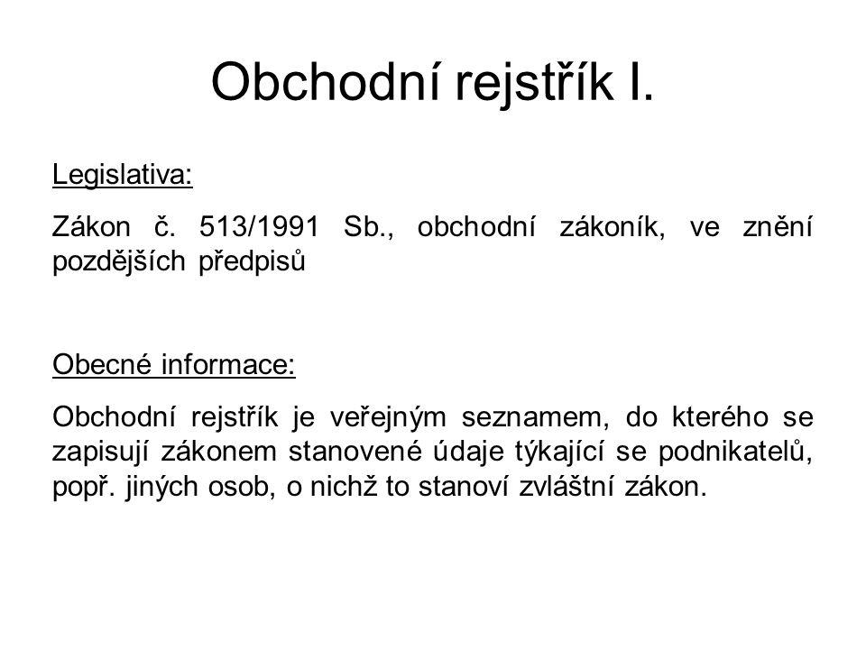 Obchodní rejstřík I. Legislativa: Zákon č.