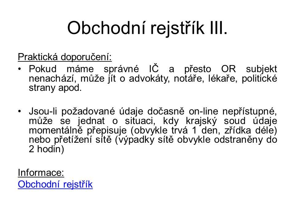 Obchodní rejstřík III.
