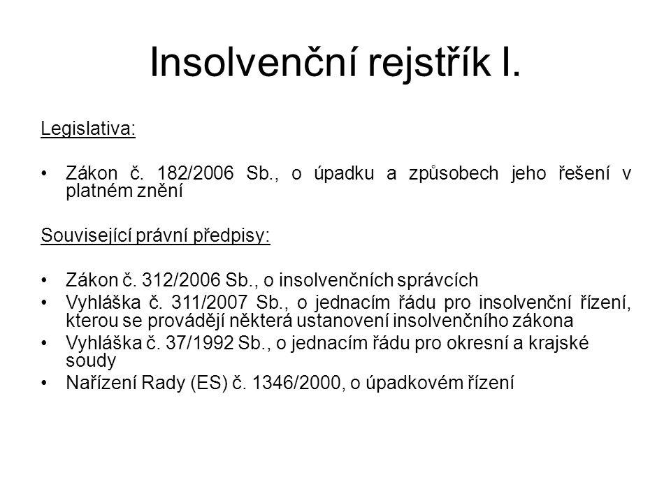 Insolvenční rejstřík I. Legislativa: Zákon č. 182/2006 Sb., o úpadku a způsobech jeho řešení v platném znění Související právní předpisy: Zákon č. 312