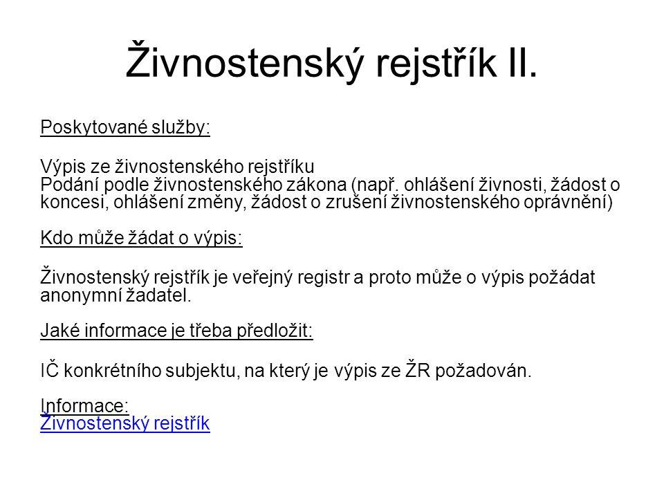 Živnostenský rejstřík II.