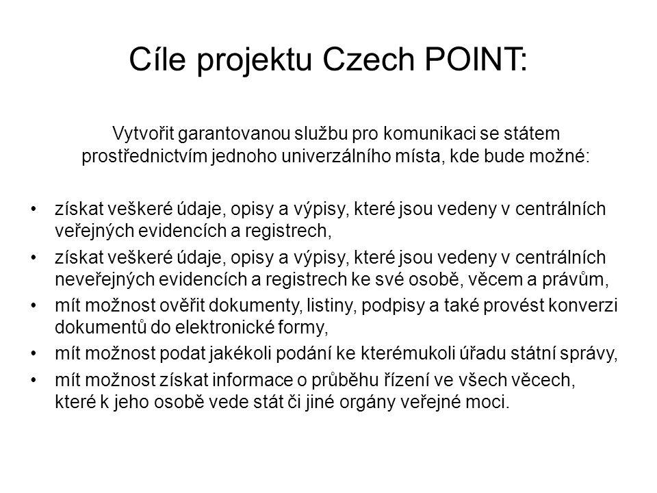 Cíle projektu Czech POINT: Vytvořit garantovanou službu pro komunikaci se státem prostřednictvím jednoho univerzálního místa, kde bude možné: získat veškeré údaje, opisy a výpisy, které jsou vedeny v centrálních veřejných evidencích a registrech, získat veškeré údaje, opisy a výpisy, které jsou vedeny v centrálních neveřejných evidencích a registrech ke své osobě, věcem a právům, mít možnost ověřit dokumenty, listiny, podpisy a také provést konverzi dokumentů do elektronické formy, mít možnost podat jakékoli podání ke kterémukoli úřadu státní správy, mít možnost získat informace o průběhu řízení ve všech věcech, které k jeho osobě vede stát či jiné orgány veřejné moci.