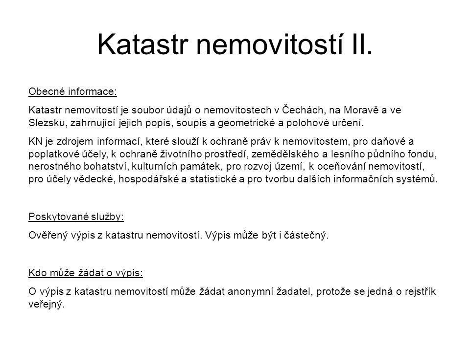 Katastr nemovitostí II.