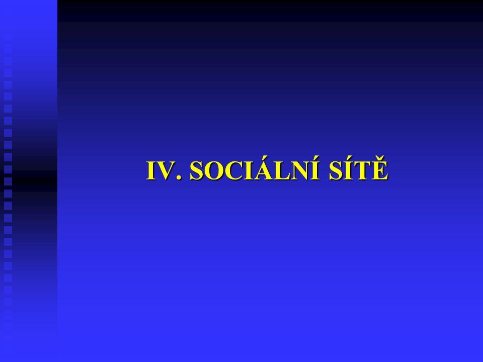 IV. SOCIÁLNÍ SÍTĚ