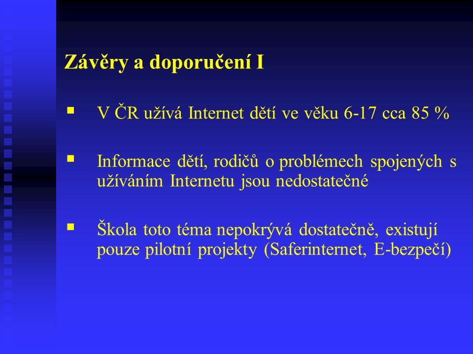 Závěry a doporučení I  V ČR užívá Internet dětí ve věku 6-17 cca 85 %  Informace dětí, rodičů o problémech spojených s užíváním Internetu jsou nedostatečné  Škola toto téma nepokrývá dostatečně, existují pouze pilotní projekty (Saferinternet, E-bezpečí)