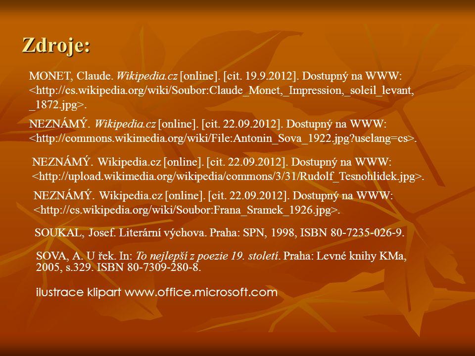 Zdroje: MONET, Claude. Wikipedia.cz [online]. [cit.