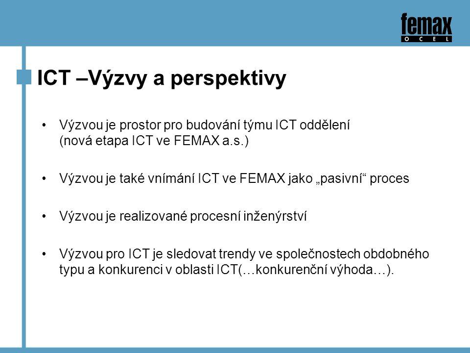 """ICT –Výzvy a perspektivy Výzvou je prostor pro budování týmu ICT oddělení (nová etapa ICT ve FEMAX a.s.) Výzvou je také vnímání ICT ve FEMAX jako """"pasivní proces Výzvou je realizované procesní inženýrství Výzvou pro ICT je sledovat trendy ve společnostech obdobného typu a konkurenci v oblasti ICT(…konkurenční výhoda…)."""