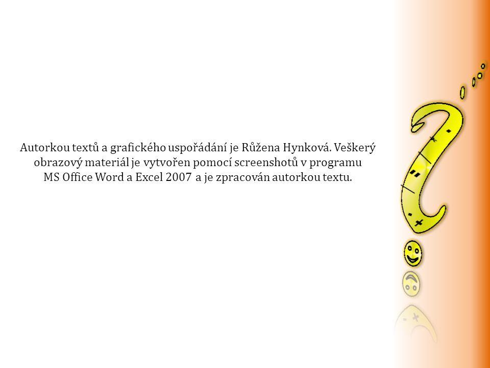 Autorkou textů a grafického uspořádání je Růžena Hynková.