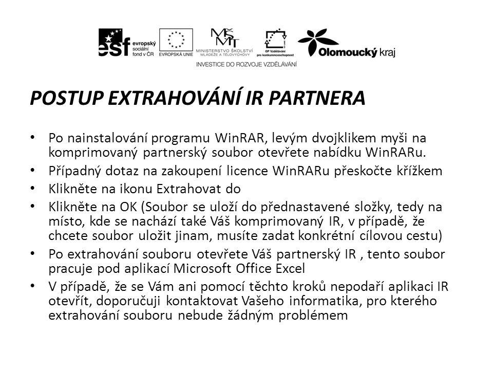 POSTUP EXTRAHOVÁNÍ IR PARTNERA Po nainstalování programu WinRAR, levým dvojklikem myši na komprimovaný partnerský soubor otevřete nabídku WinRARu.