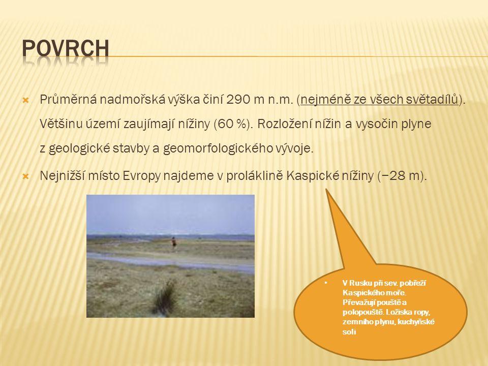  Průměrná nadmořská výška činí 290 m n.m.(nejméně ze všech světadílů).