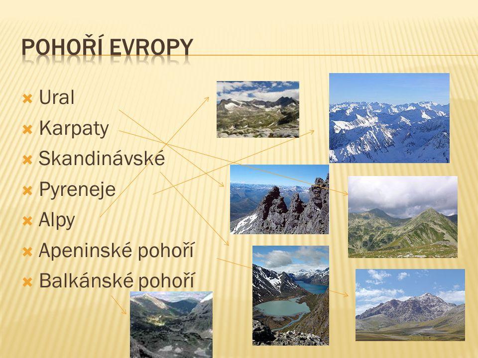  Ural  Karpaty  Skandinávské  Pyreneje  Alpy  Apeninské pohoří  Balkánské pohoří