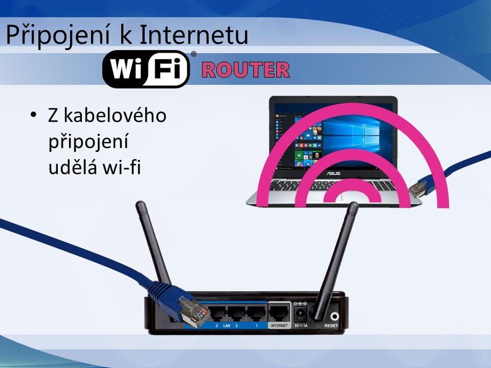 Z kabelového připojení udělá wi-fi Připojení k Internetu