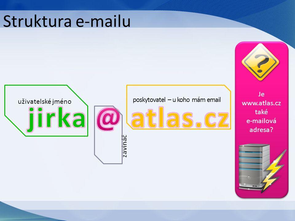 Struktura e-mailu uživatelské jméno zavináč poskytovatel – u koho mám email Je www.atlas.cz také e-mailová adresa?