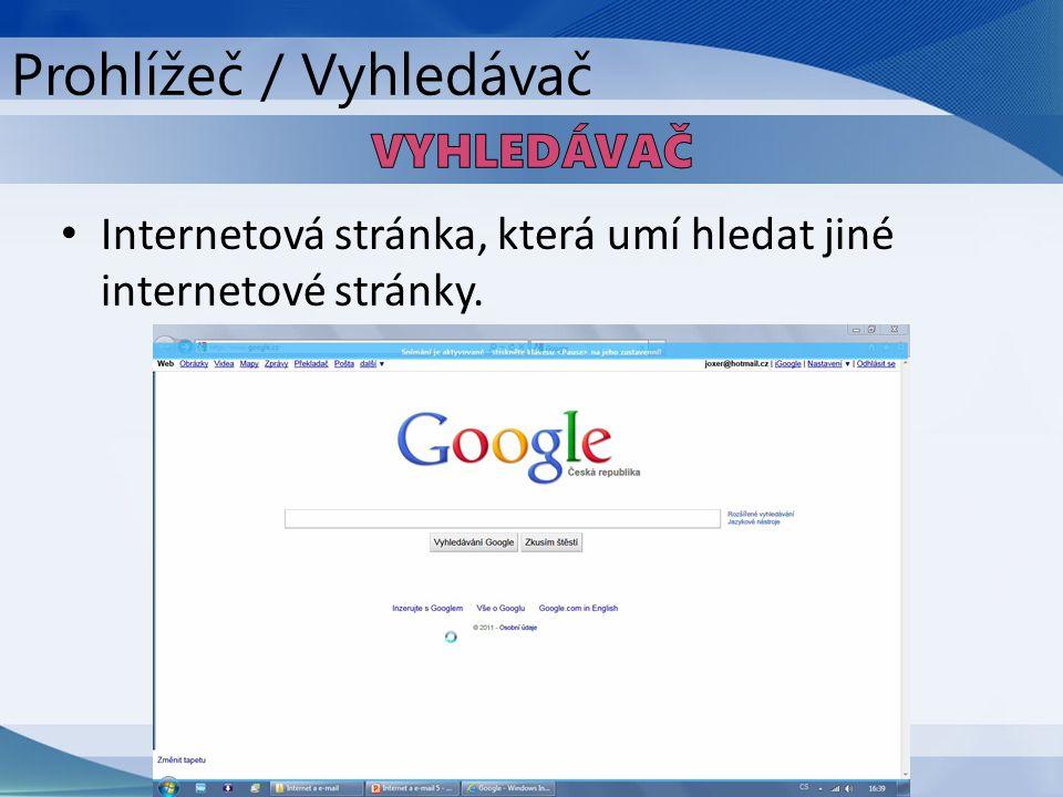 Internetová stránka, která umí hledat jiné internetové stránky. Prohlížeč / Vyhledávač