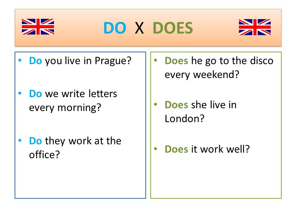 DO X DOES Do you live in Prague. Do we write letters every morning.