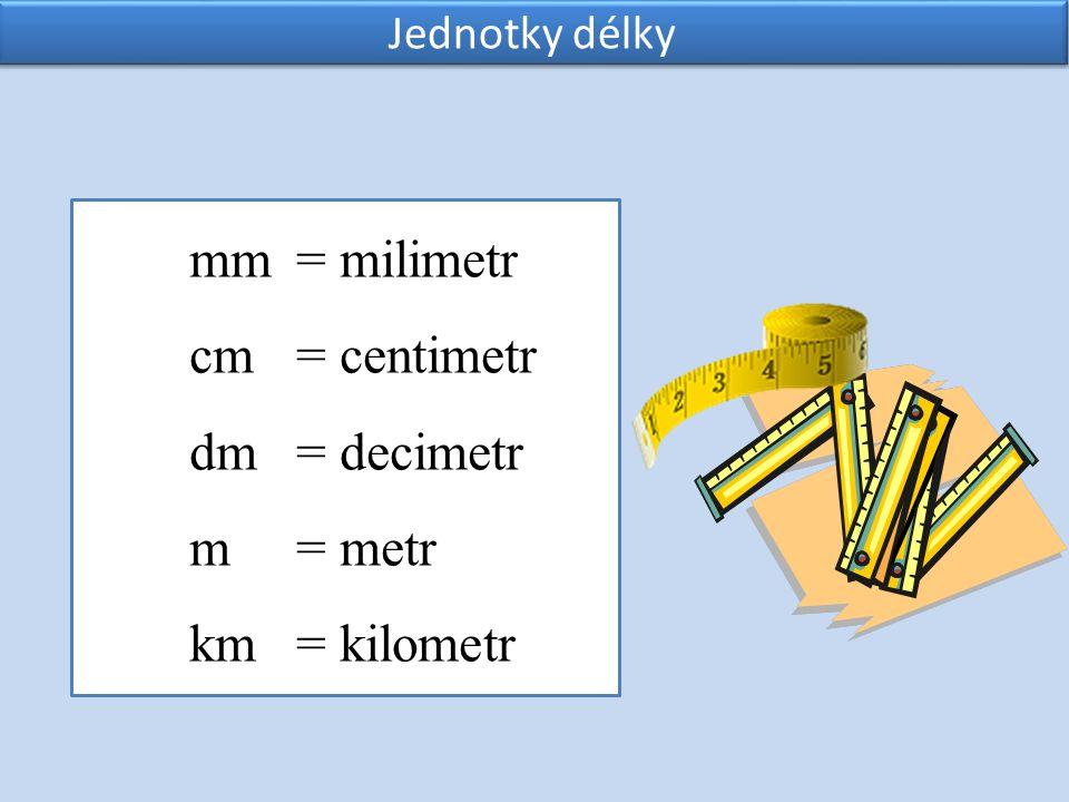 mm = milimetr cm = centimetr dm = decimetr m = metr km = kilometr Jednotky délky