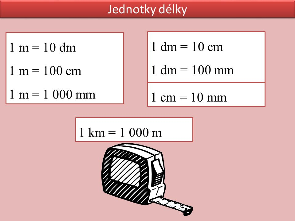 1 m = 10 dm 1 m = 100 cm 1 m = 1 000 mm 1 dm = 10 cm 1 dm = 100 mm 1 cm = 10 mm 1 km = 1 000 m