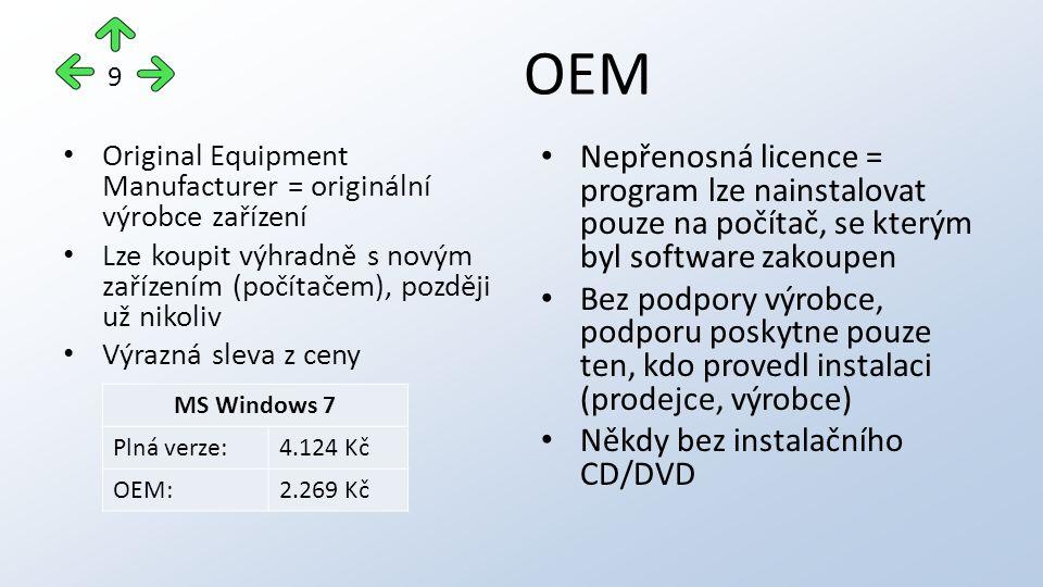 OEM Original Equipment Manufacturer = originální výrobce zařízení Lze koupit výhradně s novým zařízením (počítačem), později už nikoliv Výrazná sleva z ceny Nepřenosná licence = program lze nainstalovat pouze na počítač, se kterým byl software zakoupen Bez podpory výrobce, podporu poskytne pouze ten, kdo provedl instalaci (prodejce, výrobce) Někdy bez instalačního CD/DVD 9 MS Windows 7 Plná verze:4.124 Kč OEM:2.269 Kč