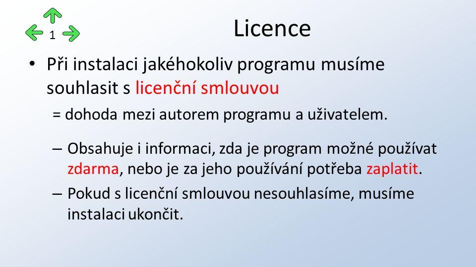 Při instalaci jakéhokoliv programu musíme souhlasit s licenční smlouvou = dohoda mezi autorem programu a uživatelem.