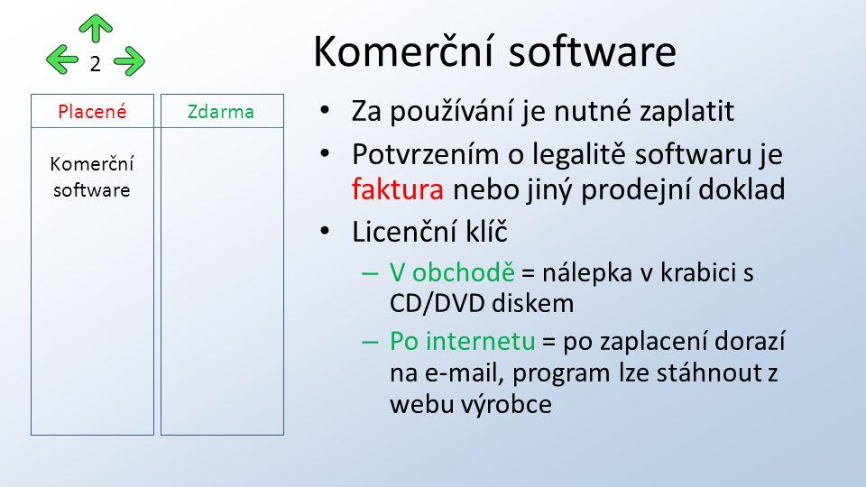 Za používání je nutné zaplatit Potvrzením o legalitě softwaru je faktura nebo jiný prodejní doklad Licenční klíč – V obchodě = nálepka v krabici s CD/DVD diskem – Po internetu = po zaplacení dorazí na e-mail, program lze stáhnout z webu výrobce Komerční software 2 Placené Komerční software Zdarma