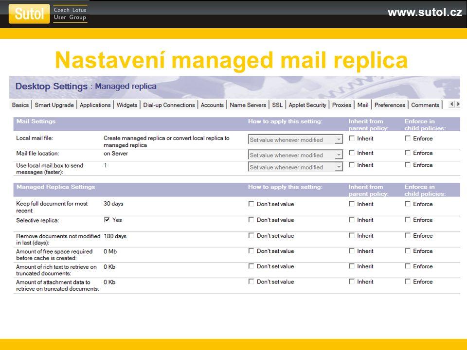 www.sutol.cz Nastavení managed mail replica