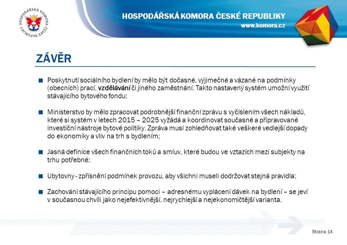 www.komora.cz HOSPODÁŘSKÁ KOMORA ČESKÉ REPUBLIKY ■ Poskytnutí sociálního bydlení by mělo být dočasné, výjimečné a vázané na podmínky (obecních) prací, vzdělávání či jiného zaměstnání.