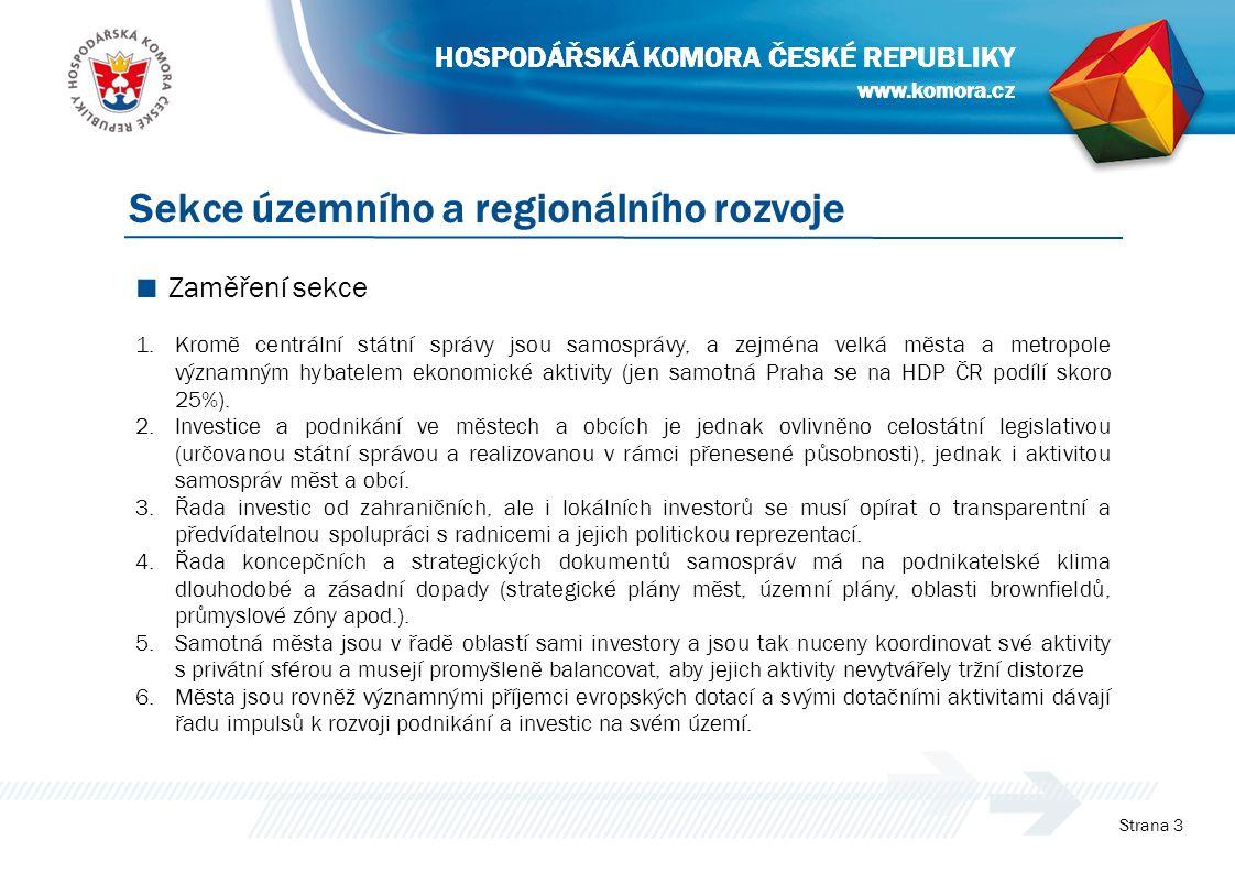 www.komora.cz HOSPODÁŘSKÁ KOMORA ČESKÉ REPUBLIKY ■ Zaměření sekce 1.Kromě centrální státní správy jsou samosprávy, a zejména velká města a metropole významným hybatelem ekonomické aktivity (jen samotná Praha se na HDP ČR podílí skoro 25%).