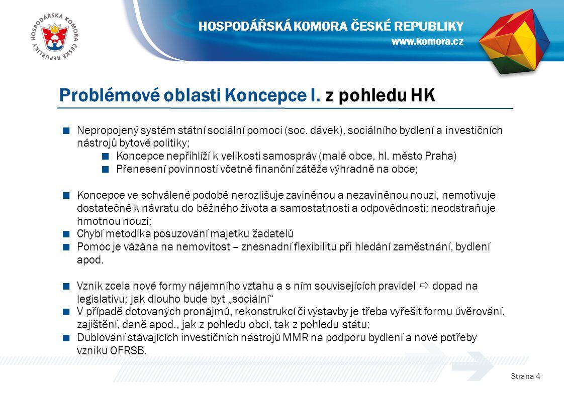 www.komora.cz HOSPODÁŘSKÁ KOMORA ČESKÉ REPUBLIKY ■ Nepropojený systém státní sociální pomoci (soc. dávek), sociálního bydlení a investičních nástrojů