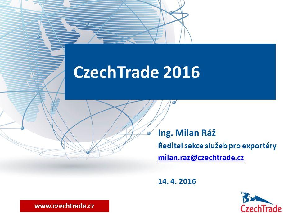 www.czechtrade.cz CzechTrade 2016 Ing. Milan Ráž Ředitel sekce služeb pro exportéry milan.raz@czechtrade.cz 14. 4. 2016