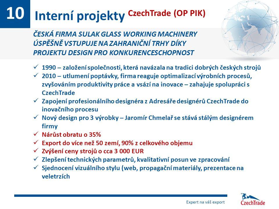 10 Interní projekty CzechTrade (OP PIK) ČESKÁ FIRMA SULAK GLASS WORKING MACHINERY ÚSPĚŠNĚ VSTUPUJE NA ZAHRANIČNÍ TRHY DÍKY PROJEKTU DESIGN PRO KONKURE