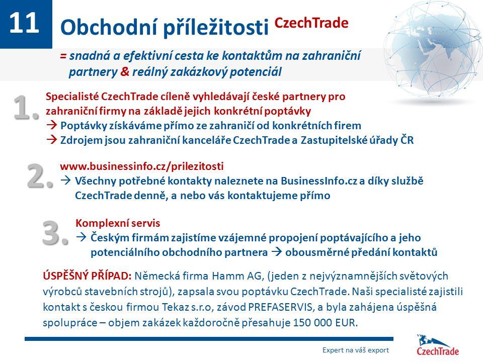 11 Obchodní příležitosti CzechTrade = snadná a efektivní cesta ke kontaktům na zahraniční partnery & reálný zakázkový potenciál 1. Specialisté CzechTr